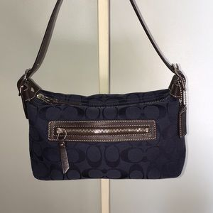 COACH Signature Navy and Brown Leather Small Hobo
